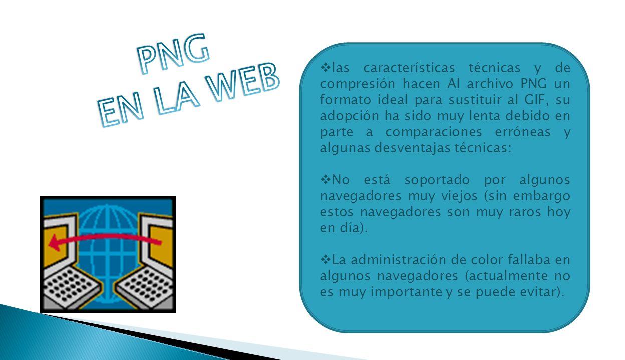las características técnicas y de compresión hacen Al archivo PNG un formato ideal para sustituir al GIF, su adopción ha sido muy lenta debido en parte a comparaciones erróneas y algunas desventajas técnicas: No está soportado por algunos navegadores muy viejos (sin embargo estos navegadores son muy raros hoy en día).