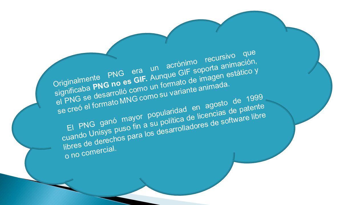 Originalmente PNG era un acrónimo recursivo que significaba PNG no es GIF.