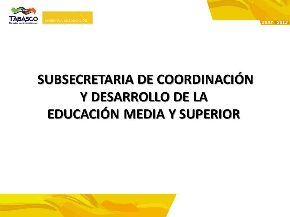 SUBSECRETARIA DE COORDINACIÓN Y DESARROLLO DE LA EDUCACIÓN MEDIA Y SUPERIOR