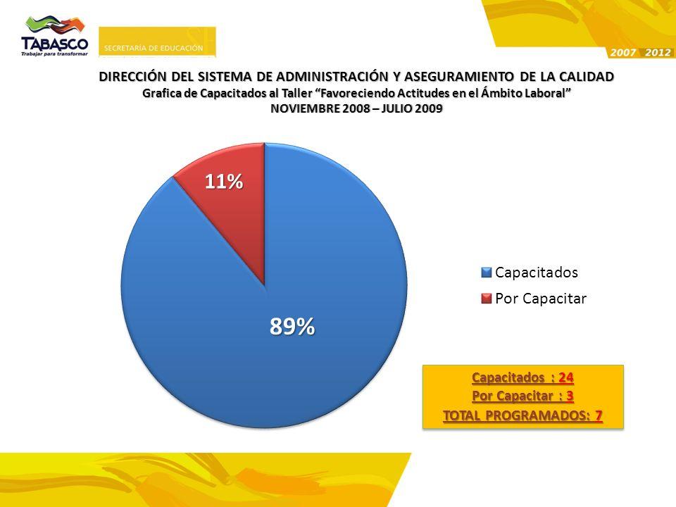 89% 11% Grafica de Capacitados al Taller Favoreciendo Actitudes en el Ámbito Laboral NOVIEMBRE 2008 – JULIO 2009NOVIEMBRE 2008 – JULIO 2009 Capacitado