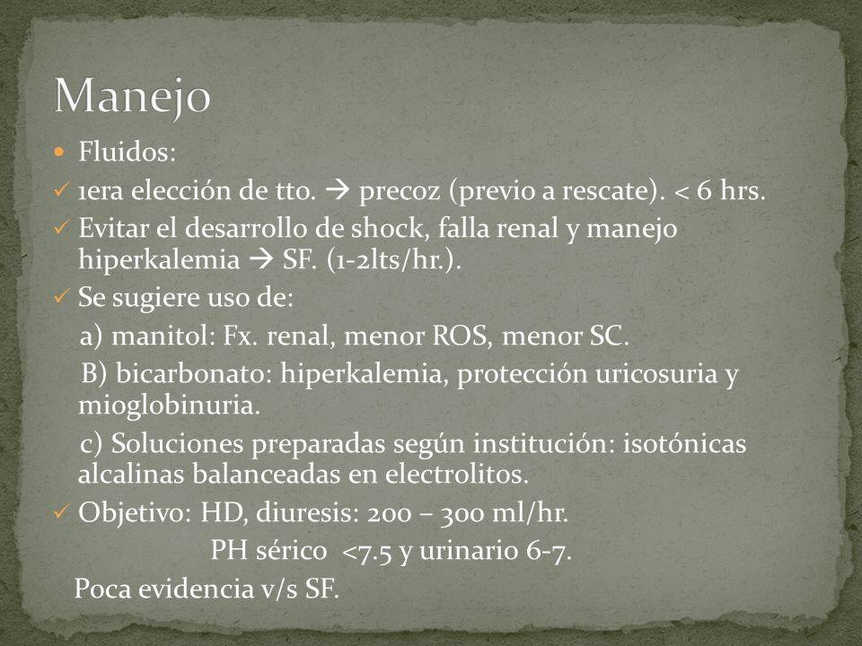 Fluidos: 1era elección de tto. precoz (previo a rescate). < 6 hrs. Evitar el desarrollo de shock, falla renal y manejo hiperkalemia SF. (1-2lts/hr.).