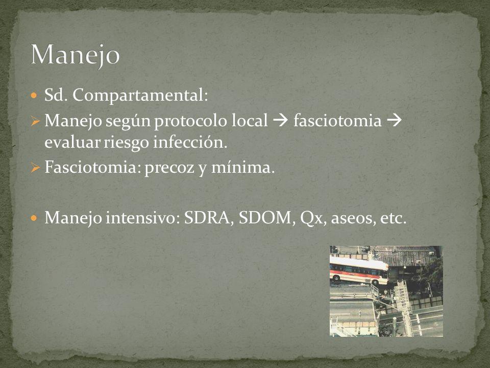 Sd. Compartamental: Manejo según protocolo local fasciotomia evaluar riesgo infección. Fasciotomia: precoz y mínima. Manejo intensivo: SDRA, SDOM, Qx,
