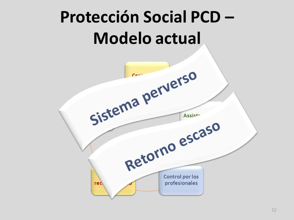 Protección Social PCD – Modelo actual 12 CentralizadoAssistencialista Control por los profesionales Usuario es receptor pasivo Rígido (soluciones estandarizadas) Sistema perverso Retorno escaso