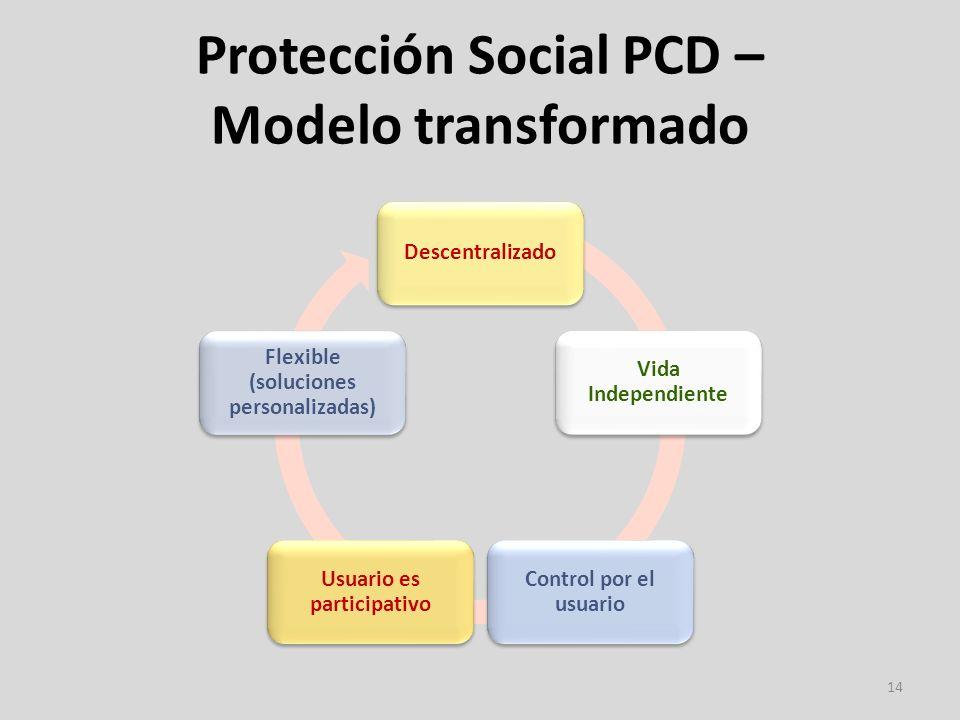 Protección Social PCD – Modelo transformado 14 Descentralizado Vida Independiente Control por el usuario Usuario es participativo Flexible (soluciones personalizadas)