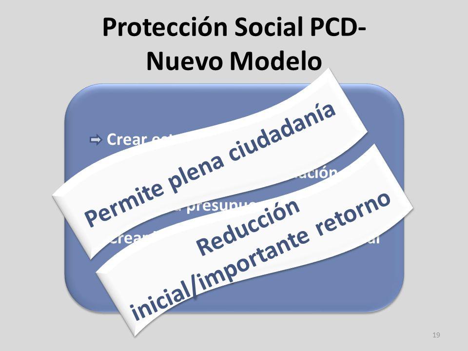 Protección Social PCD- Nuevo Modelo 19 Crear estructuras a nivel local Crear un fondo de financiación Acceder a presupuesto personal Crear la figura de Asistente Personal Crear estructuras a nivel local Crear un fondo de financiación Acceder a presupuesto personal Crear la figura de Asistente Personal Permite plena ciudadanía Reducción inicial/importante retorno