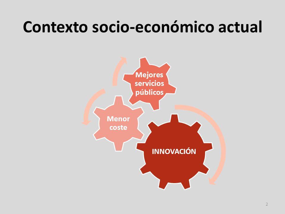 Contexto socio-económico actual 2 INNOVACIÓN Menor coste Mejores servicios públicos