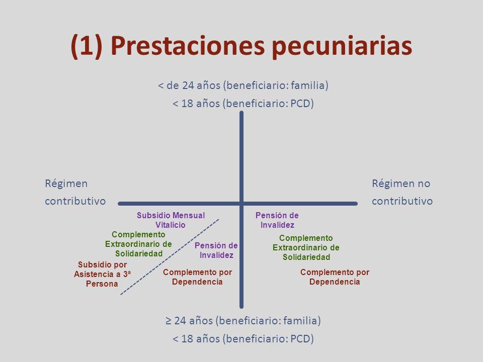 (1) Prestaciones pecuniarias Régimen contributivo Régimen no contributivo < de 24 años (beneficiario: familia) < 18 años (beneficiario: PCD) 24 años (beneficiario: familia) < 18 años (beneficiario: PCD) Subsidio Mensual Vitalicio Complemento Extraordinario de Solidariedad Subsidio por Asistencia a 3ª Persona Pensión de Invalidez Complemento por Dependencia Complemento Extraordinario de Solidariedad Pensión de Invalidez Complemento por Dependencia Imposibilidad de ejercer actividad profesional