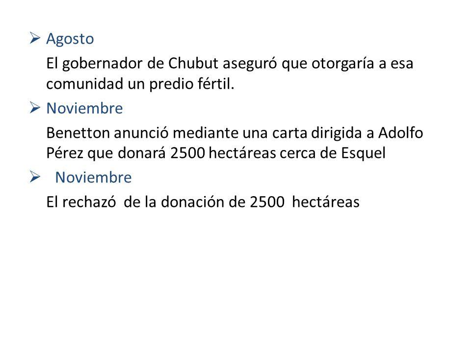 Agosto El gobernador de Chubut aseguró que otorgaría a esa comunidad un predio fértil. Noviembre Benetton anunció mediante una carta dirigida a Adolfo