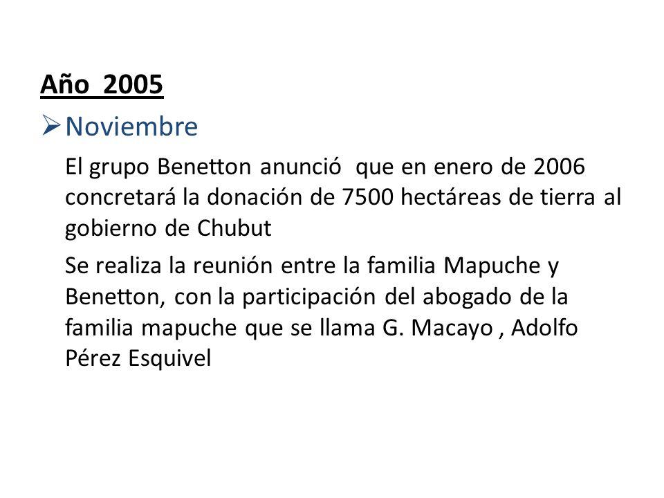 Año 2005 Noviembre El grupo Benetton anunció que en enero de 2006 concretará la donación de 7500 hectáreas de tierra al gobierno de Chubut Se realiza