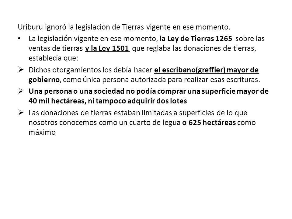 Uriburu ignoró la legislación de Tierras vigente en ese momento. La legislación vigente en ese momento, la Ley de Tierras 1265 sobre las ventas de tie