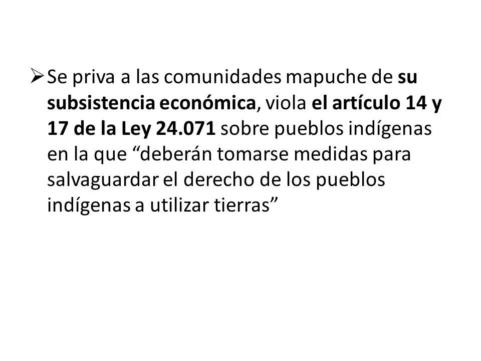 Se priva a las comunidades mapuche de su subsistencia económica, viola el artículo 14 y 17 de la Ley 24.071 sobre pueblos indígenas en la que deberán