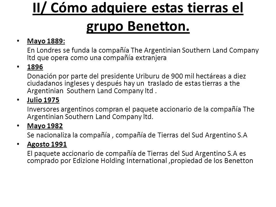 II/ Cómo adquiere estas tierras el grupo Benetton. Mayo 1889: En Londres se funda la compañía The Argentinian Southern Land Company ltd que opera como