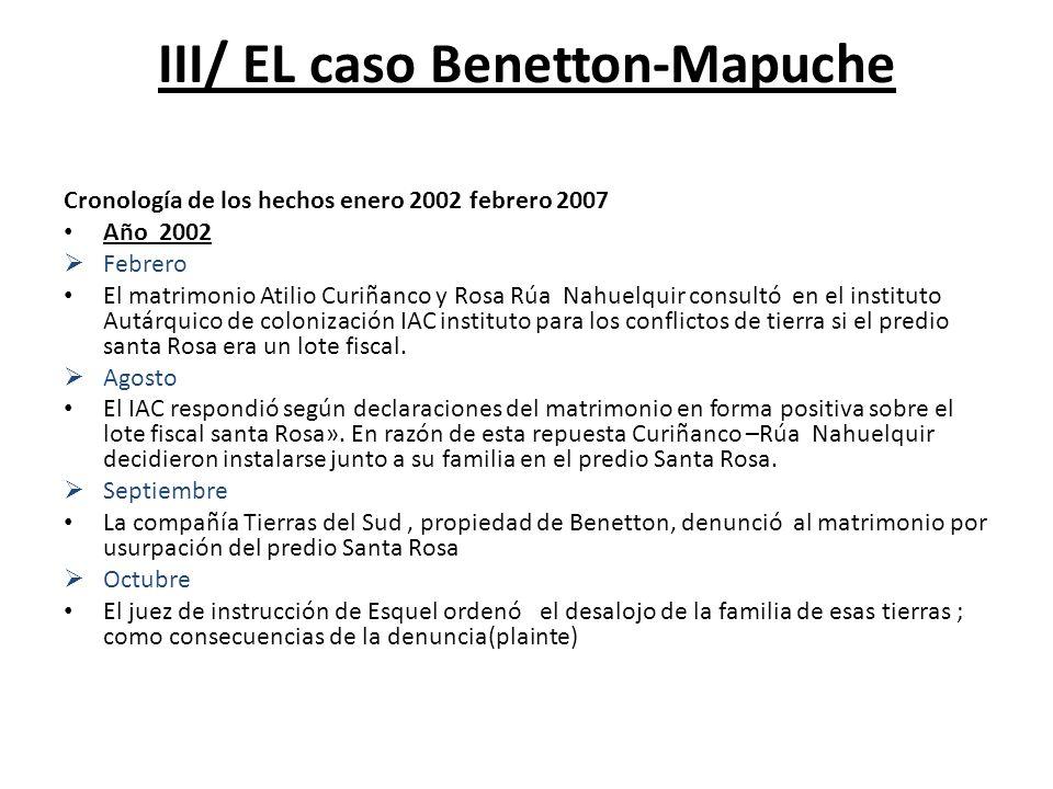 III/ EL caso Benetton-Mapuche Cronología de los hechos enero 2002 febrero 2007 Año 2002 Febrero El matrimonio Atilio Curiñanco y Rosa Rúa Nahuelquir c
