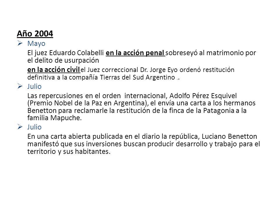 Año 2004 Mayo El juez Eduardo Colabelli en la acción penal sobreseyó al matrimonio por el delito de usurpación en la acción civil el Juez correccional