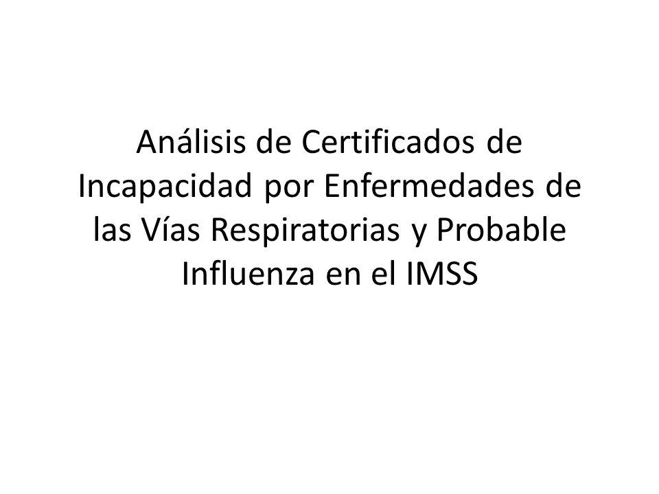 Análisis de Certificados de Incapacidad por Enfermedades de las Vías Respiratorias y Probable Influenza en el IMSS