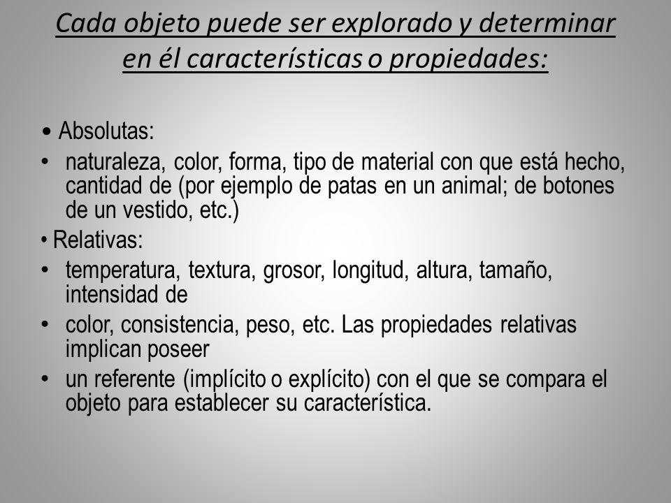 Cada objeto puede ser explorado y determinar en él características o propiedades: Absolutas: naturaleza, color, forma, tipo de material con que está h