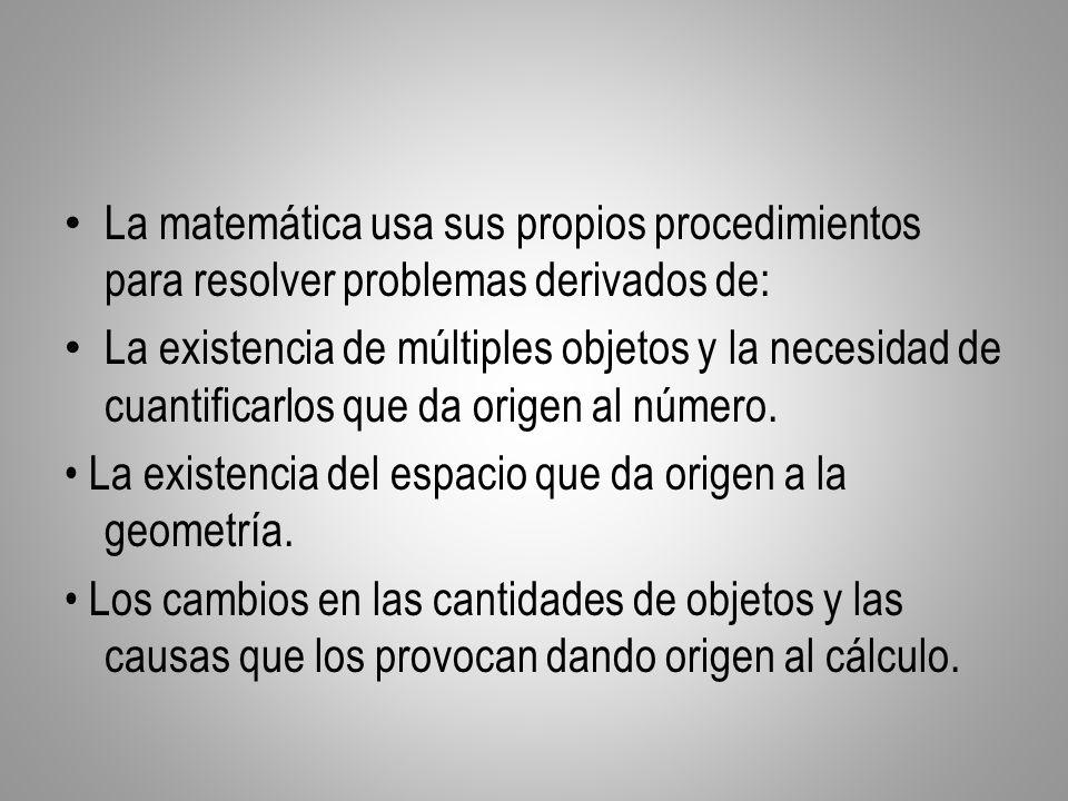La matemática usa sus propios procedimientos para resolver problemas derivados de: La existencia de múltiples objetos y la necesidad de cuantificarlos