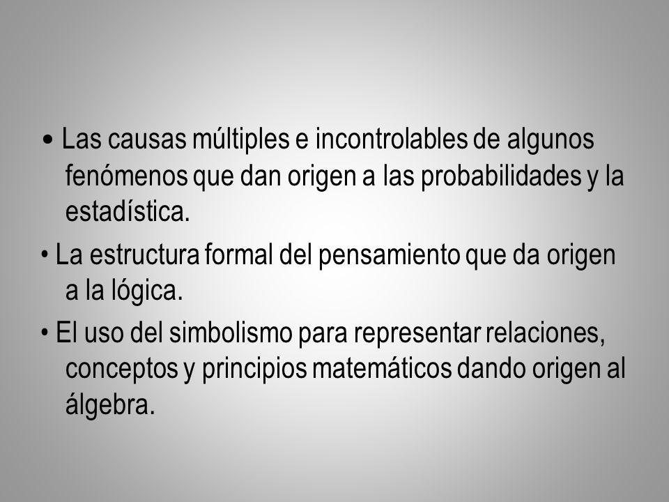 Las causas múltiples e incontrolables de algunos fenómenos que dan origen a las probabilidades y la estadística. La estructura formal del pensamiento