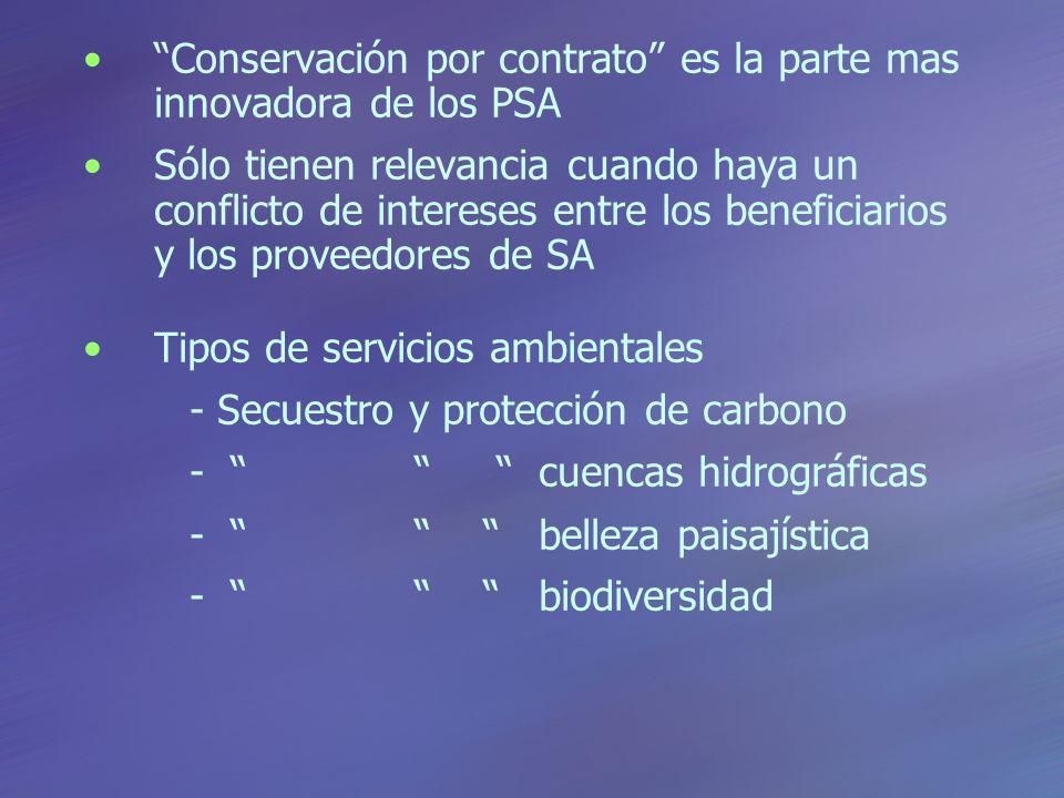 Conservación por contrato es la parte mas innovadora de los PSA Sólo tienen relevancia cuando haya un conflicto de intereses entre los beneficiarios y los proveedores de SA Tipos de servicios ambientales - Secuestro y protección de carbono - cuencas hidrográficas - belleza paisajística - biodiversidad