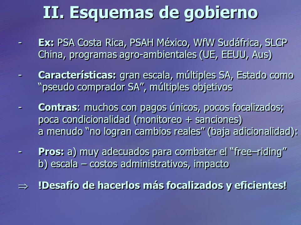 II. Esquemas de gobierno -Ex: PSA Costa Rica, PSAH México, WfW Sudáfrica, SLCP China, programas agro-ambientales (UE, EEUU, Aus) -Características: gra