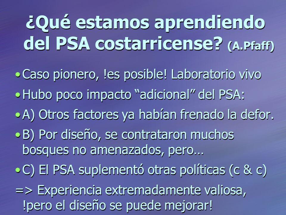 ¿Qué estamos aprendiendo del PSA costarricense. (A.Pfaff) Caso pionero, !es posible.