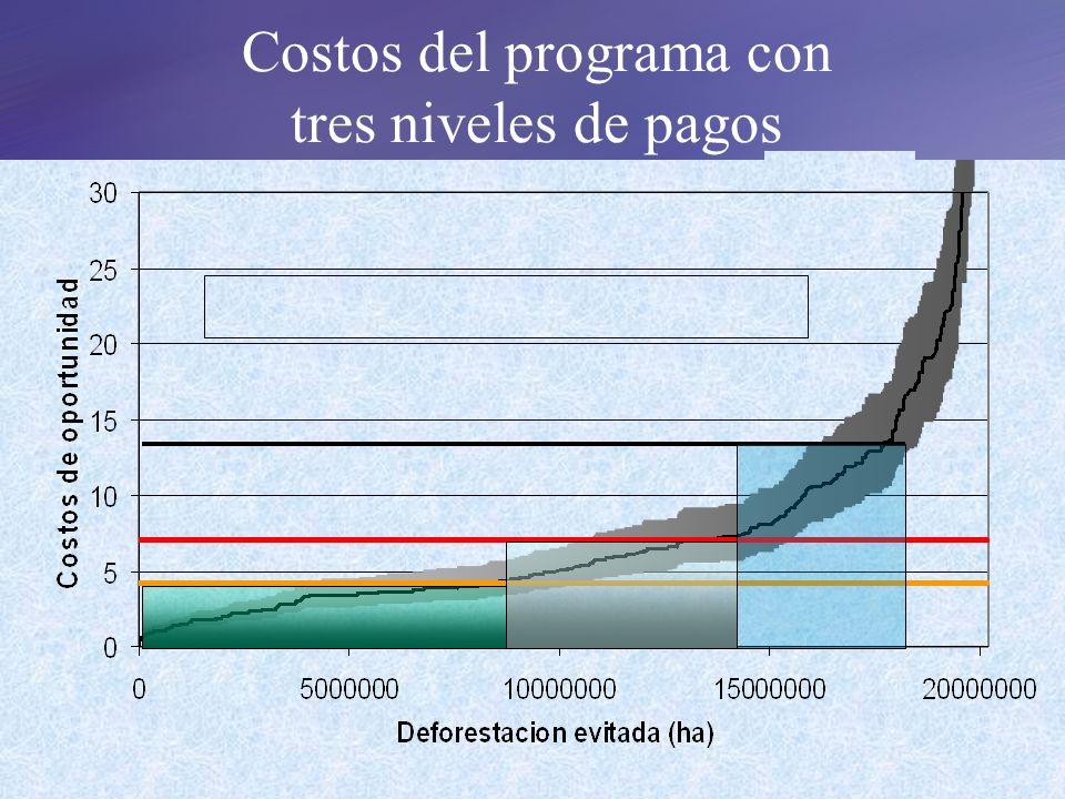 Costos del programa con tres niveles de pagos