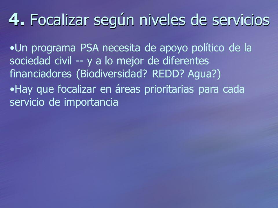 4. Focalizar según niveles de servicios Un programa PSA necesita de apoyo político de la sociedad civil -- y a lo mejor de diferentes financiadores (B