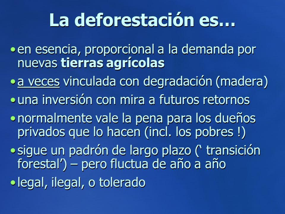 La deforestación es… en esencia, proporcional a la demanda por nuevas tierras agrícolas a veces vinculada con degradación (madera) una inversión con mira a futuros retornos normalmente vale la pena para los dueños privados que lo hacen (incl.