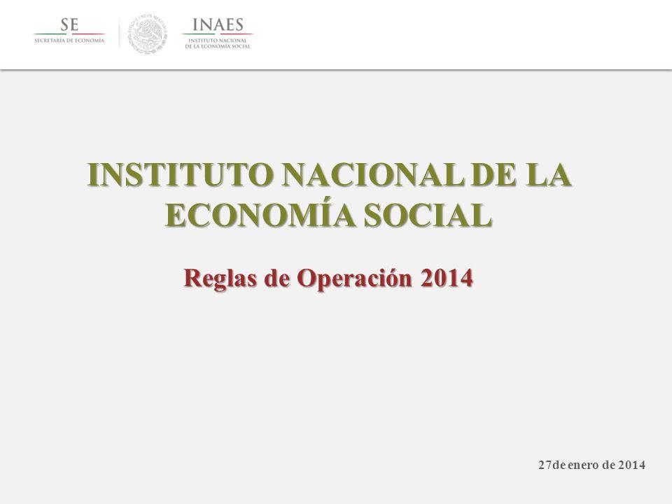 INSTITUTO NACIONAL DE LA ECONOMÍA SOCIAL Reglas de Operación 2014 27de enero de 2014