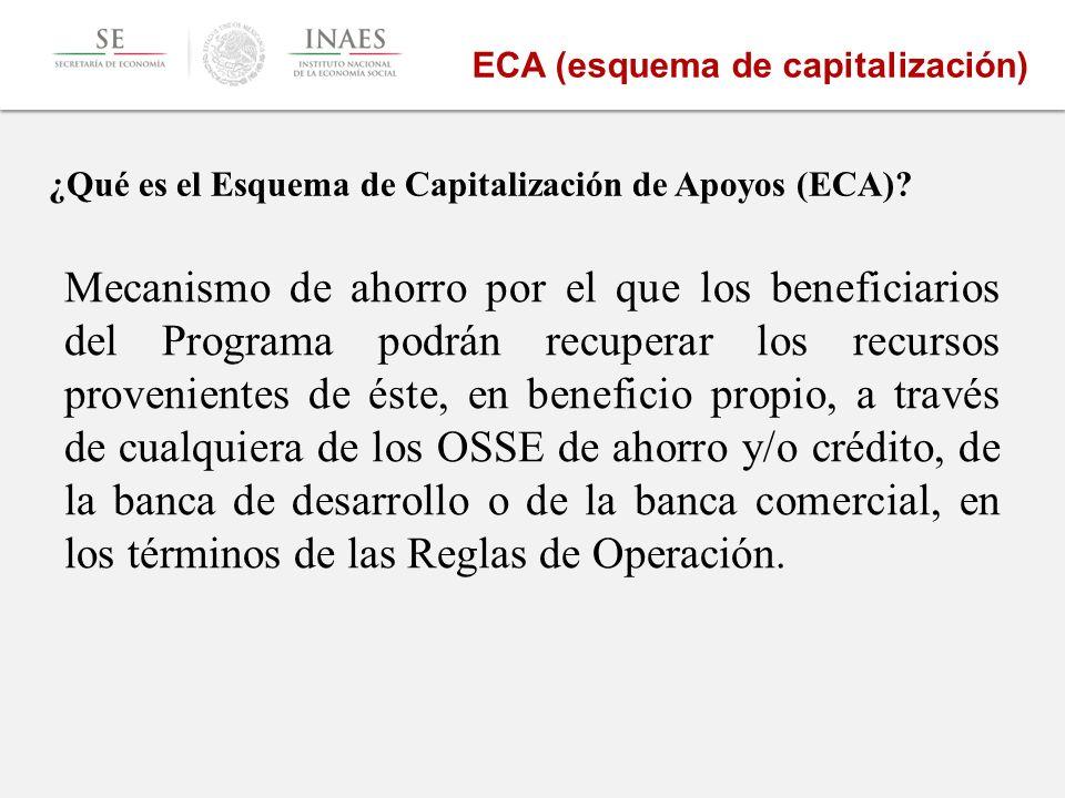 Mecanismo de ahorro por el que los beneficiarios del Programa podrán recuperar los recursos provenientes de éste, en beneficio propio, a través de cualquiera de los OSSE de ahorro y/o crédito, de la banca de desarrollo o de la banca comercial, en los términos de las Reglas de Operación.
