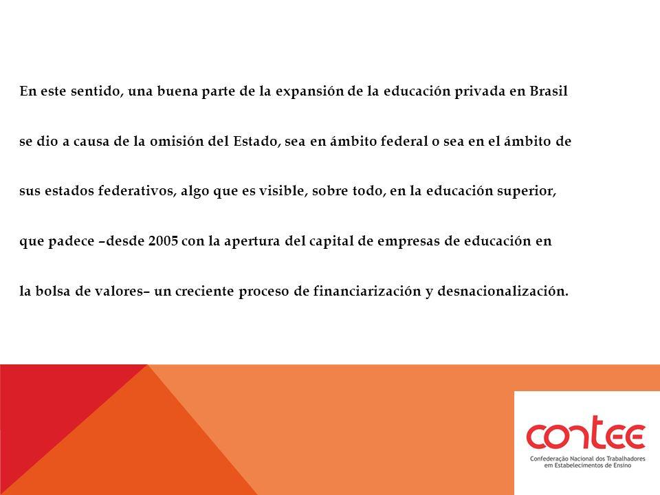 En este sentido, una buena parte de la expansión de la educación privada en Brasil se dio a causa de la omisión del Estado, sea en ámbito federal o sea en el ámbito de sus estados federativos, algo que es visible, sobre todo, en la educación superior, que padece –desde 2005 con la apertura del capital de empresas de educación en la bolsa de valores– un creciente proceso de financiarización y desnacionalización.