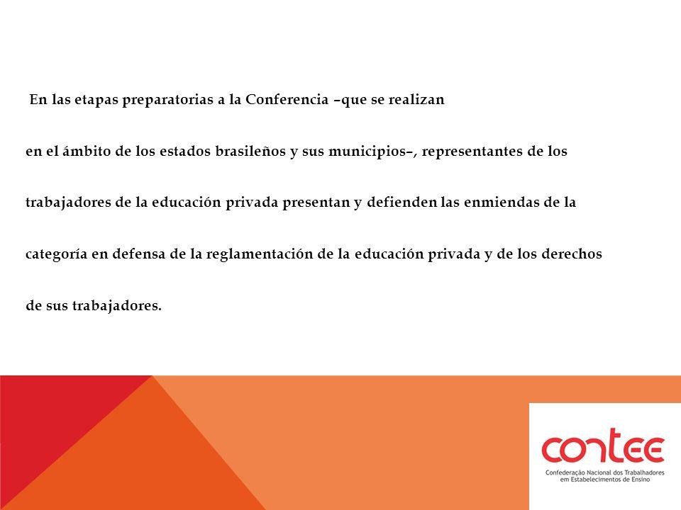 En las etapas preparatorias a la Conferencia –que se realizan en el ámbito de los estados brasileños y sus municipios–, representantes de los trabajadores de la educación privada presentan y defienden las enmiendas de la categoría en defensa de la reglamentación de la educación privada y de los derechos de sus trabajadores.