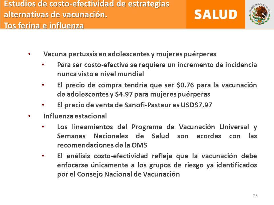 23 Estudios de costo-efectividad de estrategias alternativas de vacunación.
