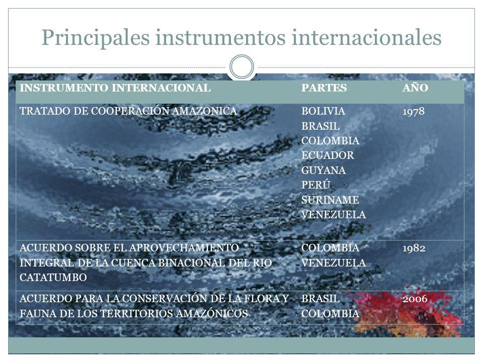 Principales instrumentos internacionales INSTRUMENTO INTERNACIONALPARTESAÑO TRATADO DE COOPERACIÓN AMAZONICA BOLIVIA BRASIL COLOMBIA ECUADOR GUYANA PE