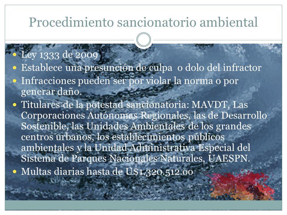 Procedimiento sancionatorio ambiental Ley 1333 de 2009 Establece una presunción de culpa o dolo del infractor Infracciones pueden ser por violar la no