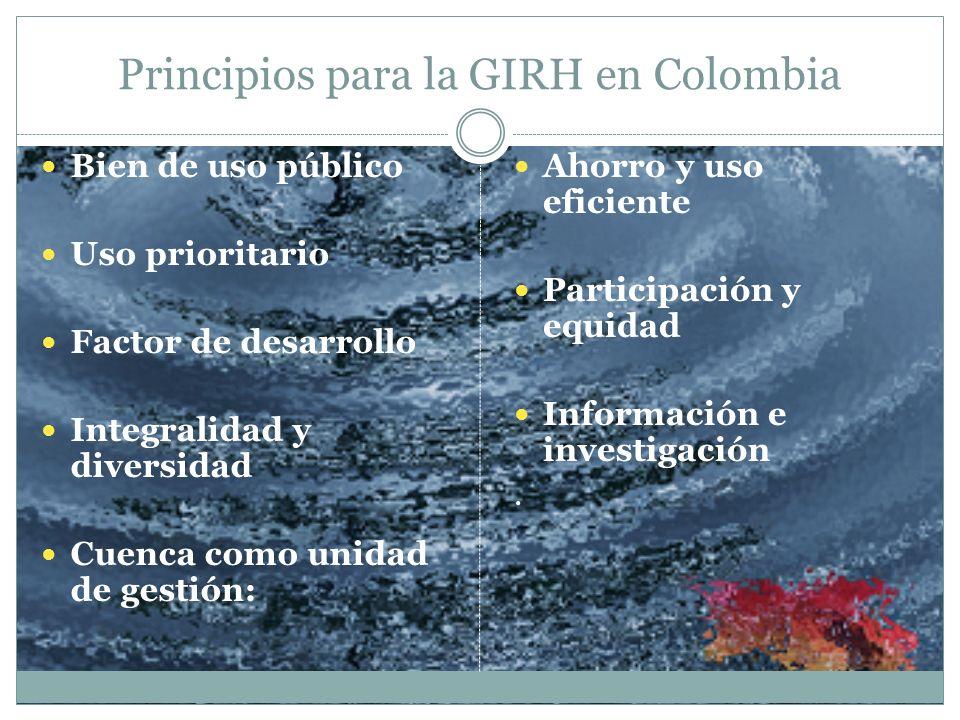 Principios para la GIRH en Colombia Bien de uso público Uso prioritario Factor de desarrollo Integralidad y diversidad Cuenca como unidad de gestión: