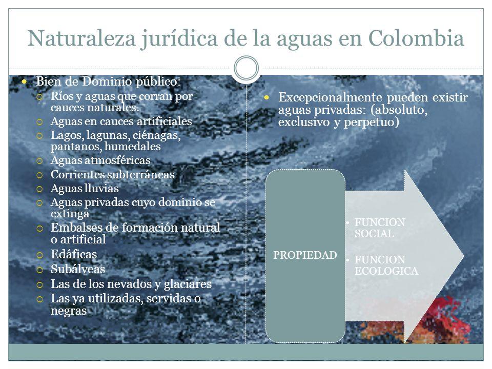 Naturaleza jurídica de la aguas en Colombia Bien de Dominio público: Ríos y aguas que corran por cauces naturales. Aguas en cauces artificiales Lagos,