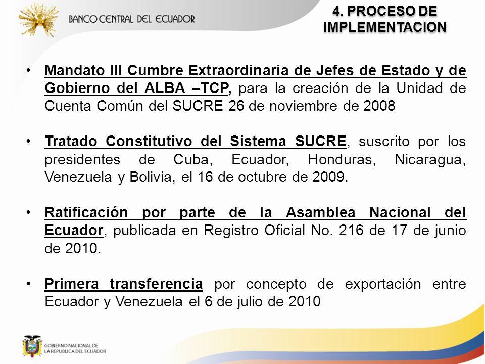 4. PROCESO DE IMPLEMENTACION Mandato III Cumbre Extraordinaria de Jefes de Estado y de Gobierno del ALBA –TCP, para la creación de la Unidad de Cuenta