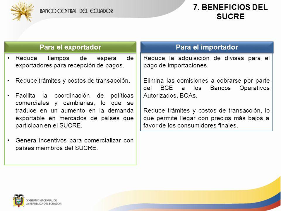 7. BENEFICIOS DEL SUCRE Para el exportador Para el importador Reduce la adquisición de divisas para el pago de importaciones. Elimina las comisiones a