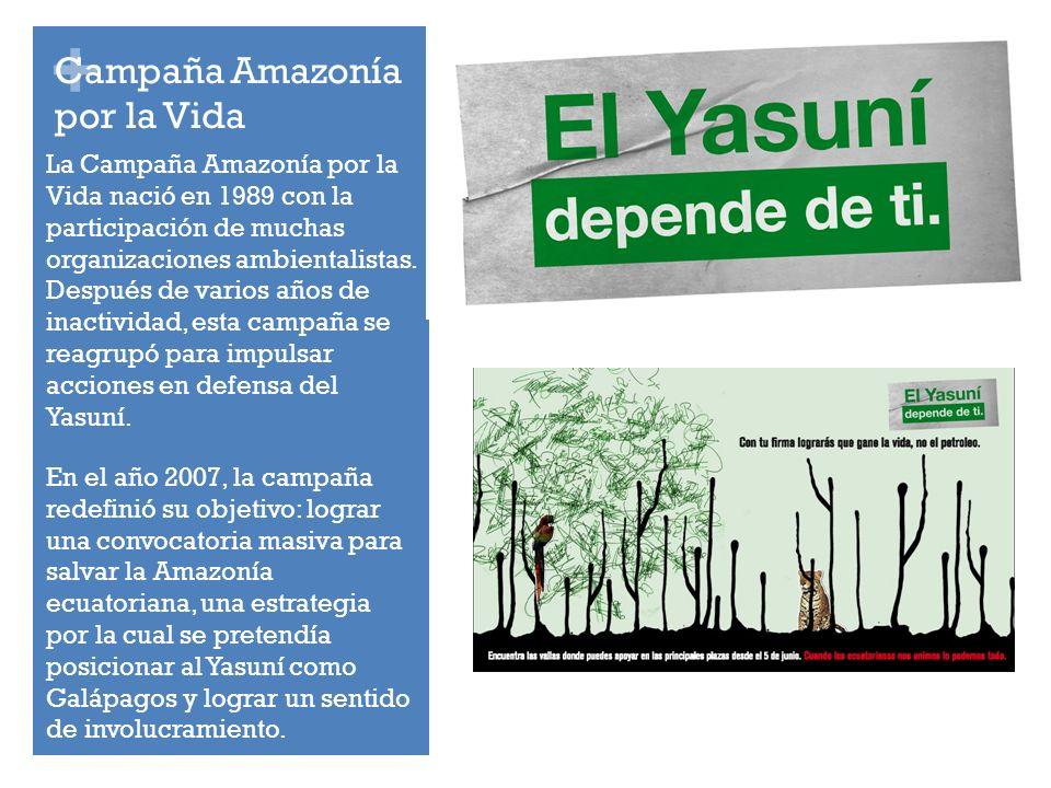 + Campaña Amazonía por la Vida La Campaña Amazonía por la Vida nació en 1989 con la participación de muchas organizaciones ambientalistas.