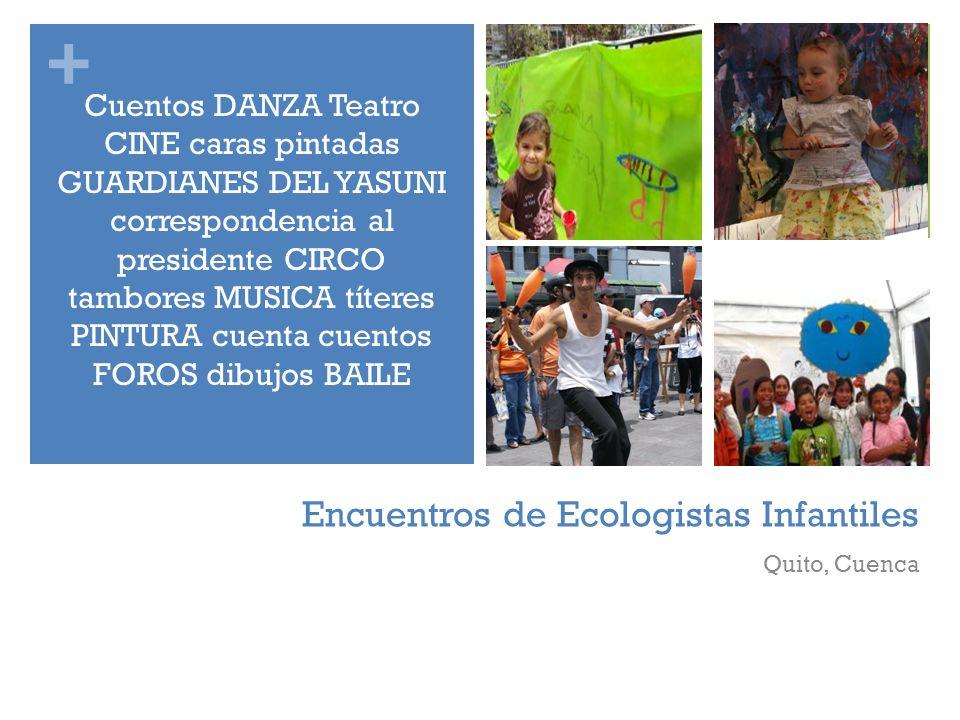 + Encuentros de Ecologistas Infantiles Quito, Cuenca Cuentos DANZA Teatro CINE caras pintadas GUARDIANES DEL YASUNI correspondencia al presidente CIRC