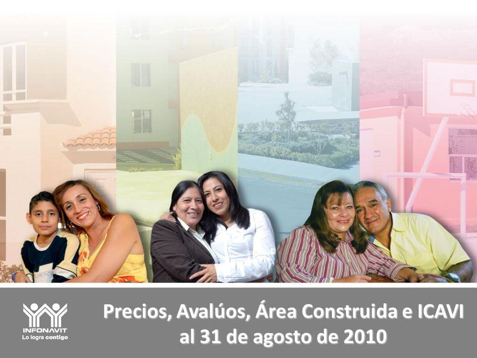 Precios, Avalúos, Área Construida e ICAVI al 31 de agosto de 2010