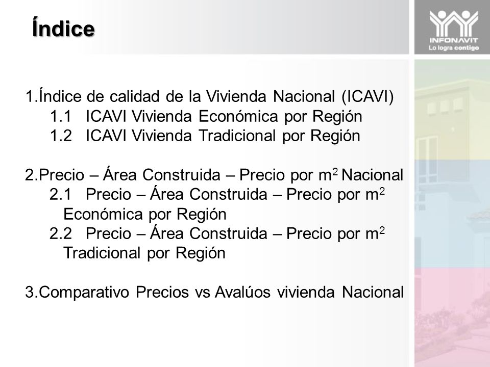1.Índice de calidad de la Vivienda Nacional (ICAVI) 1.1 ICAVI Vivienda Económica por Región 1.2 ICAVI Vivienda Tradicional por Región 2.Precio – Área Construida – Precio por m 2 Nacional 2.1 Precio – Área Construida – Precio por m 2 Económica por Región 2.2 Precio – Área Construida – Precio por m 2 Tradicional por Región 3.Comparativo Precios vs Avalúos vivienda Nacional Índice