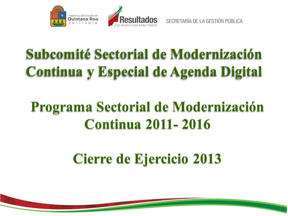 Subcomité Sectorial de Modernización Continua y Especial de Agenda Digital Programa Sectorial de Modernización Continua 2011- 2016 Cierre de Ejercicio 2013