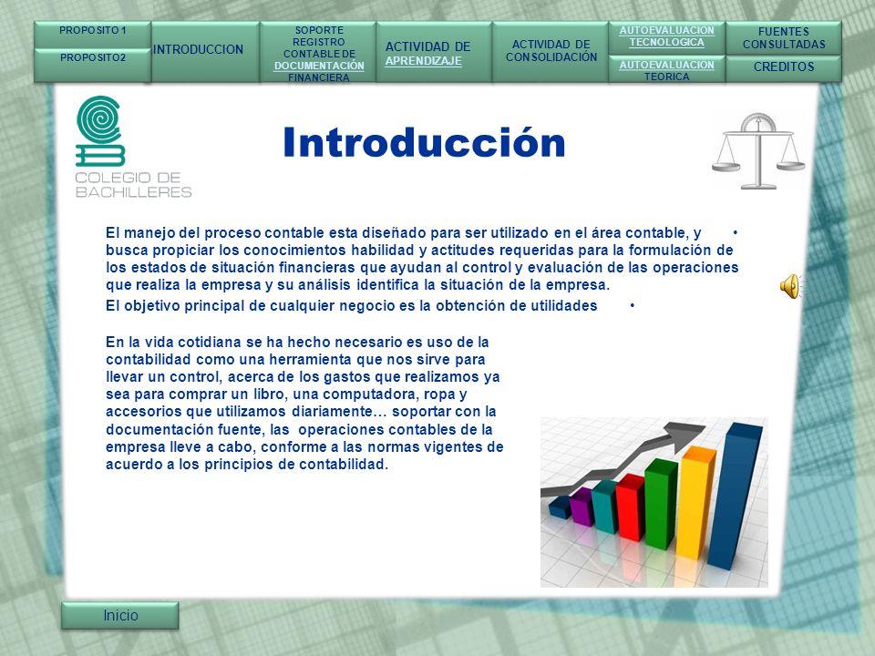 SOPORTE Y REGISTRO CONTABLE DE DOCUMENTACIÓN FINANCIERA 1.- Antecedentes 2.- Definición 3.- Objetivo 4.- Importancia 5.- Tipo de contabilidad 6.- Disposiciones legales 7.- Principios contables Inicio INTRODUCCION SOPORTE REGISTRO CONTABLE DE DOCUMENTACIÓN FINANCIERA SOPORTE REGISTRO CONTABLE DE DOCUMENTACIÓN FINANCIERA ACTIVIDAD DE APRENDIZAJE ACTIVIDAD DE APRENDIZAJE ACTIVIDAD DE CONSOLIDACIÓN ACTIVIDAD DE CONSOLIDACIÓN CREDITOS FUENTES CONSULTADAS FUENTES CONSULTADAS AUTOEVALUACION TECNOLOGICA AUTOEVALUACION TECNOLOGICA AUTOEVALUACION TEORICA AUTOEVALUACION TEORICA PROPOSITO 1 PROPOSITO2 Antecedentes Definición Objetivo Importancia Tipos Contables Tipos Contables Disposiciones Postulados