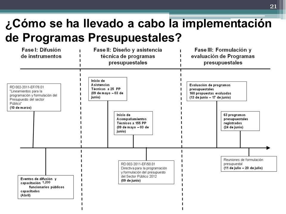 21 ¿Cómo se ha llevado a cabo la implementación de Programas Presupuestales? 1,200
