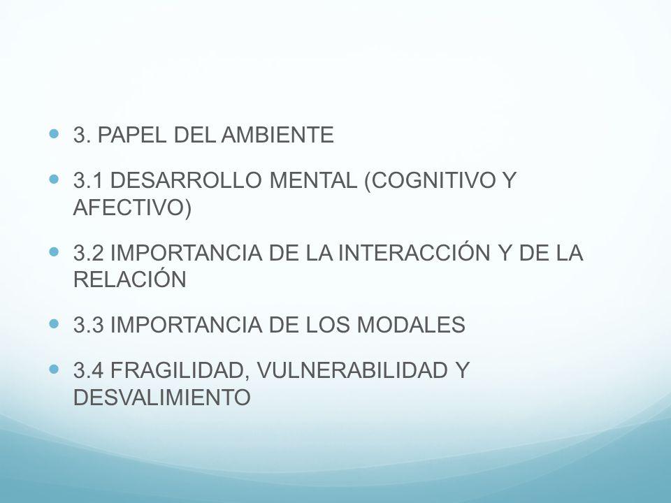 3. PAPEL DEL AMBIENTE 3.1 DESARROLLO MENTAL (COGNITIVO Y AFECTIVO) 3.2 IMPORTANCIA DE LA INTERACCIÓN Y DE LA RELACIÓN 3.3 IMPORTANCIA DE LOS MODALES 3