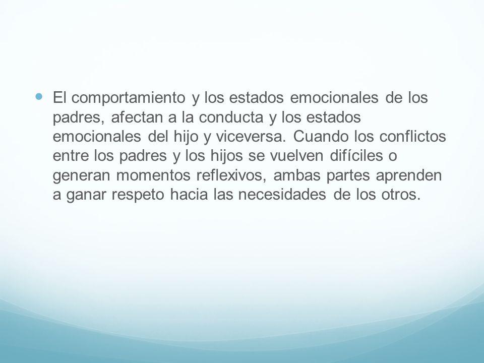 El comportamiento y los estados emocionales de los padres, afectan a la conducta y los estados emocionales del hijo y viceversa.