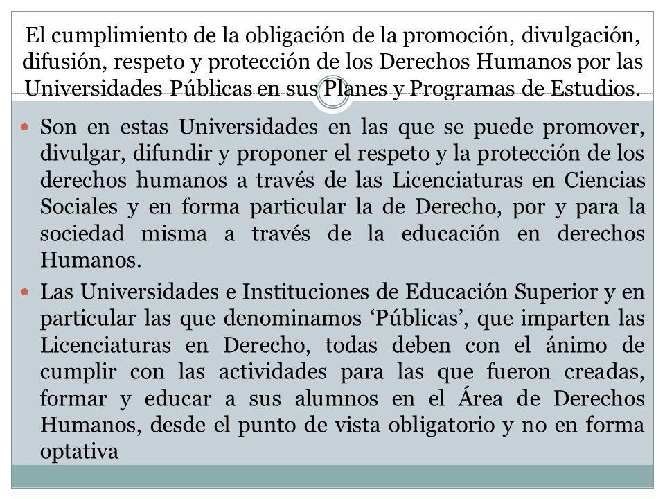 El cumplimiento de la obligación de la promoción, divulgación, difusión, respeto y protección de los Derechos Humanos por las Universidades Públicas e