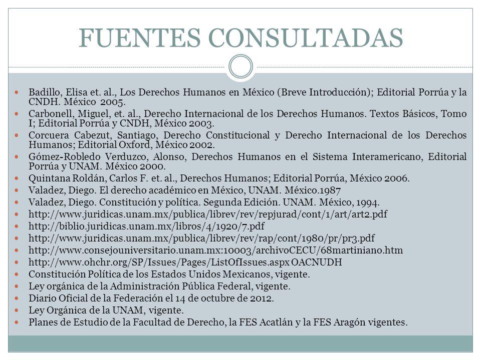 FUENTES CONSULTADAS Badillo, Elisa et. al., Los Derechos Humanos en México (Breve Introducción); Editorial Porrúa y la CNDH. México 2005. Carbonell, M